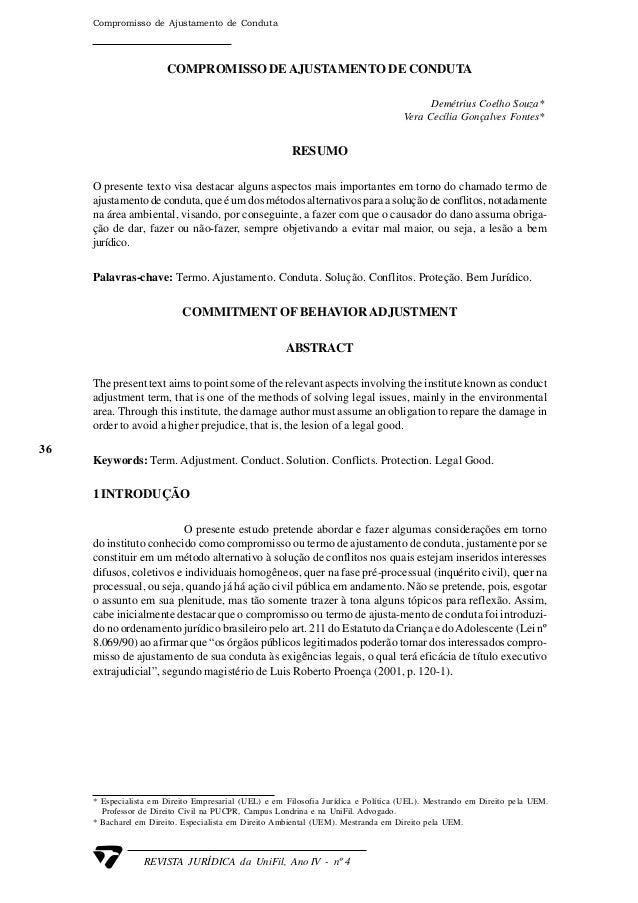 36 REVISTA JURÍDICA da UniFil, Ano IV - nº 4 Compromisso de Ajustamento de Conduta COMPROMISSO DEAJUSTAMENTO DE CONDUTA De...