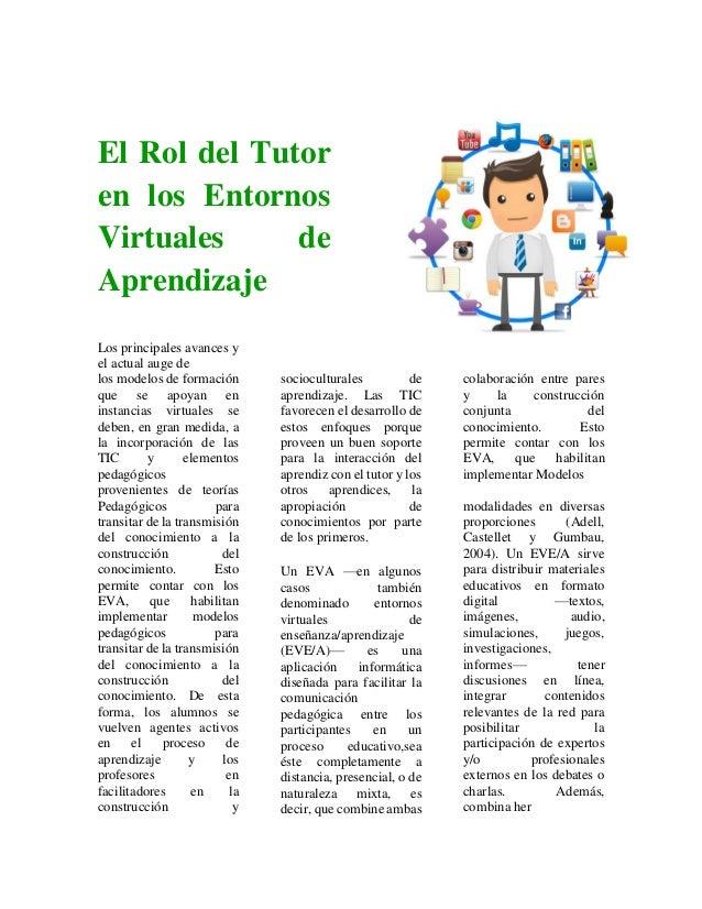 El Rol del Tutor en los Entornos Virtuales de Aprendizaje Los principales avances y el actual auge de los modelos de forma...
