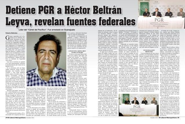 24 El Liberal Metropolitano /Octubre 2014 Octubre 2014 / El Liberal Metropolitano 25  Roberto Meléndez  Grupos especiales ...
