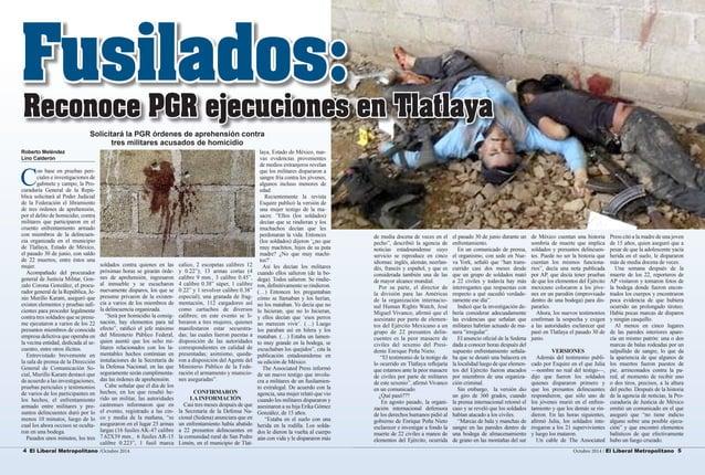 4 El Liberal Metropolitano /Octubre 2014 Octubre 2014 / El Liberal Metropolitano 5  Roberto Meléndez  Lino Calderón  Con b...