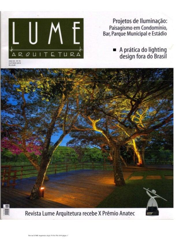 Revista LUME Arquitetura edição 70. Oct Nov 2014 página 1