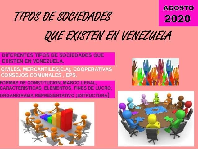 TIPOS DE SOCIEDADES QUE EXISTEN EN VENEZUELA DIFERENTES TIPOS DE SOCIEDADES QUE EXISTEN EN VENEZUELA. CIVILES, MERCANTILES...