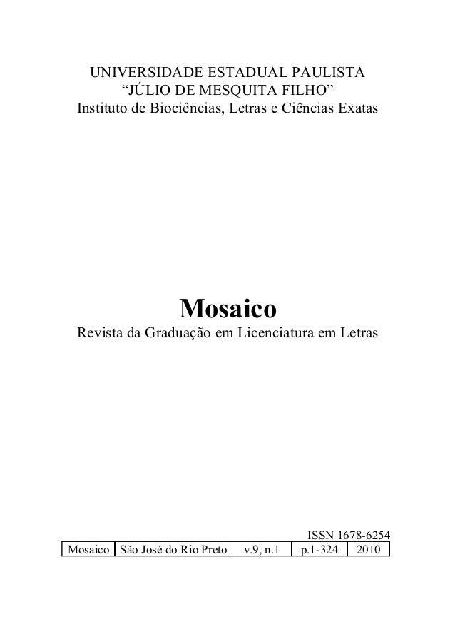 """UNIVERSIDADE ESTADUAL PAULISTA """"JÚLIO DE MESQUITA FILHO"""" Instituto de Biociências, Letras e Ciências Exatas Mosaico Revist..."""