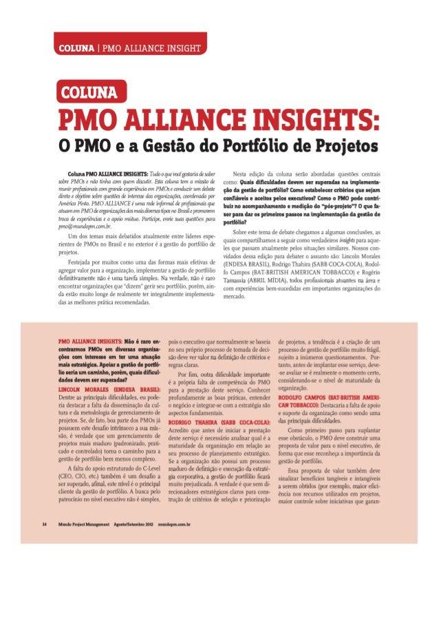 PMO Insights - PMO e a Gestão de Portfólio de Projetos