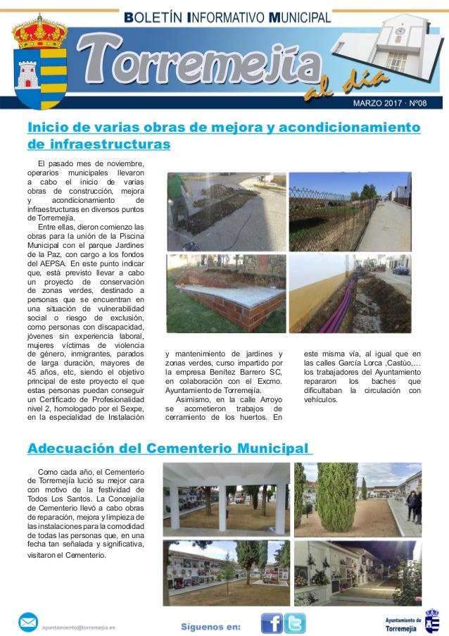 Inicio de varias obras de mejora y acondicionamiento de infraestructuras El pasado mes de noviembre, operarios municipales...