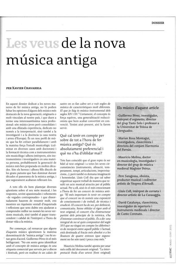 """Revista musical catalana """"Les veus de la nova música antiga"""""""