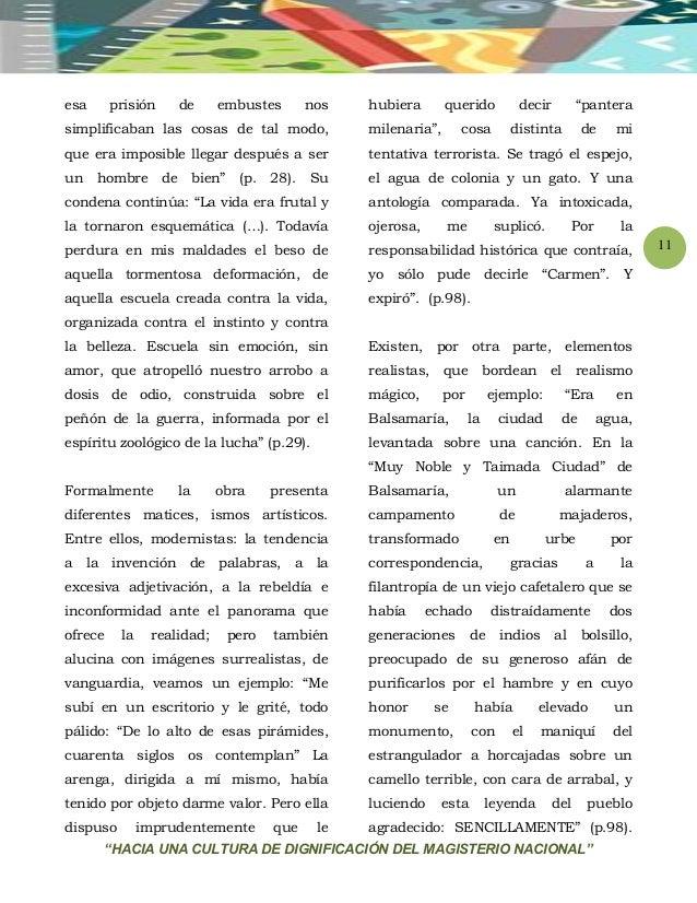 """""""HACIA UNA CULTURA DE DIGNIFICACIÓN DEL MAGISTERIO NACIONAL"""" 11 esa prisión de embustes nos simplificaban las cosas de tal..."""