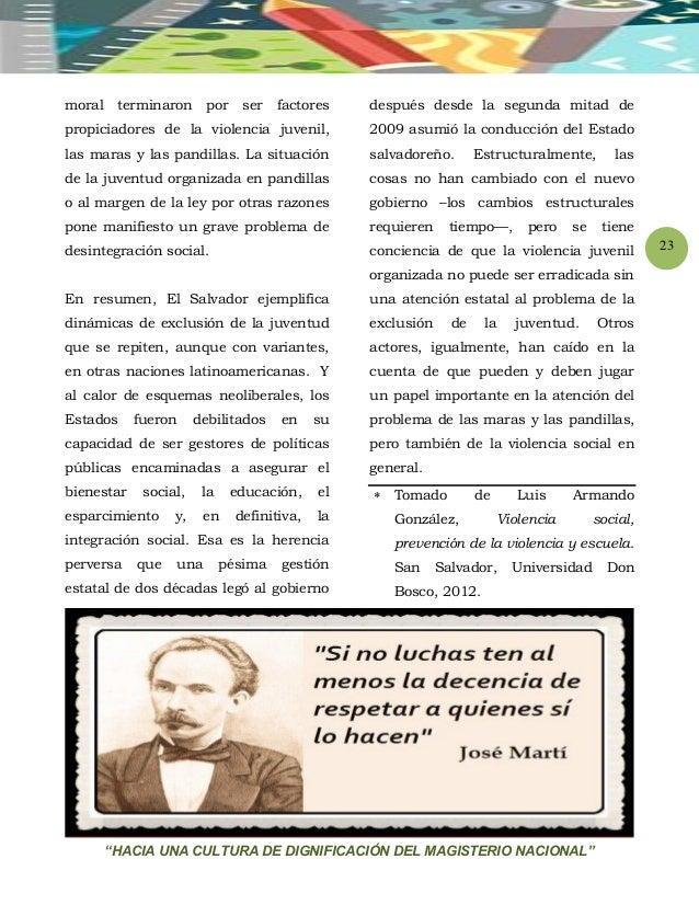 """""""HACIA UNA CULTURA DE DIGNIFICACIÓN DEL MAGISTERIO NACIONAL"""" 23 moral terminaron por ser factores propiciadores de la viol..."""
