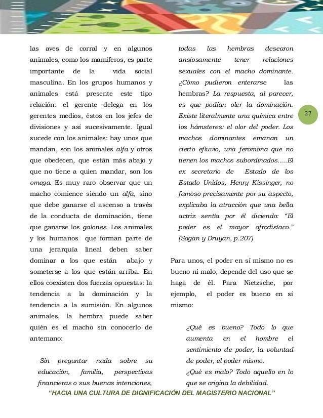 """""""HACIA UNA CULTURA DE DIGNIFICACIÓN DEL MAGISTERIO NACIONAL"""" 27 las aves de corral y en algunos animales, como los mamífer..."""