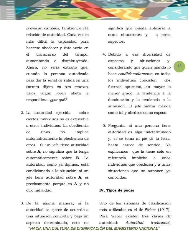 """""""HACIA UNA CULTURA DE DIGNIFICACIÓN DEL MAGISTERIO NACIONAL"""" 32 provocan cambios, también, en la relación de autoridad. Ca..."""