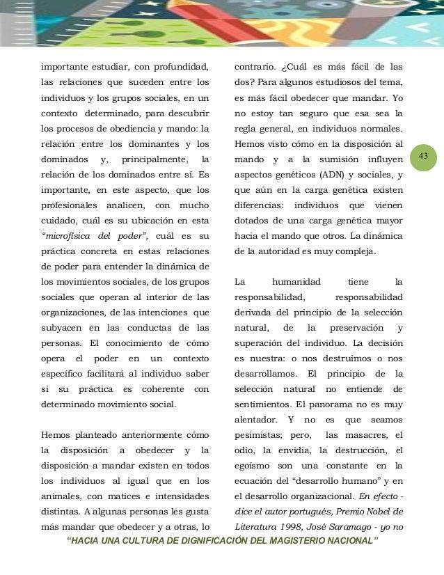"""""""HACIA UNA CULTURA DE DIGNIFICACIÓN DEL MAGISTERIO NACIONAL"""" 43 importante estudiar, con profundidad, las relaciones que s..."""