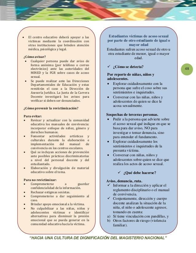 """""""HACIA UNA CULTURA DE DIGNIFICACIÓN DEL MAGISTERIO NACIONAL"""" 48  El centro educativo deberá apoyar a las victimas mediant..."""