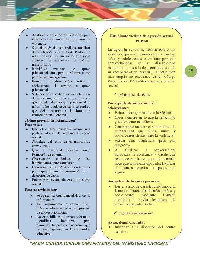 """""""HACIA UNA CULTURA DE DIGNIFICACIÓN DEL MAGISTERIO NACIONAL"""" 49  Analizar la situación de la víctima para saber si existe..."""
