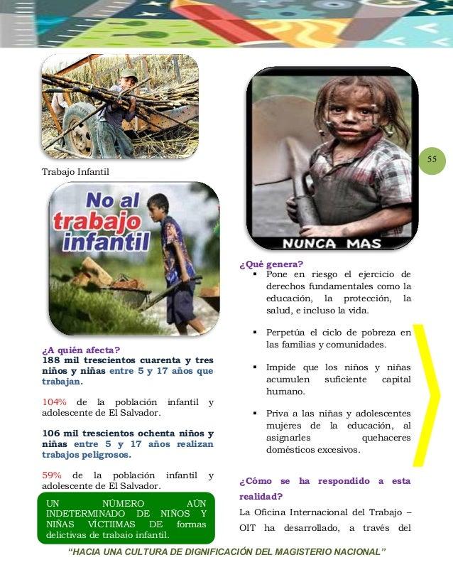 """""""HACIA UNA CULTURA DE DIGNIFICACIÓN DEL MAGISTERIO NACIONAL"""" 55 Trabajo Infantil ¿A quién afecta? 188 mil trescientos cuar..."""