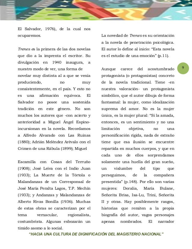 """""""HACIA UNA CULTURA DE DIGNIFICACIÓN DEL MAGISTERIO NACIONAL"""" 9 El Salvador, 1976), de la cual nos ocuparemos. Trenes es la..."""