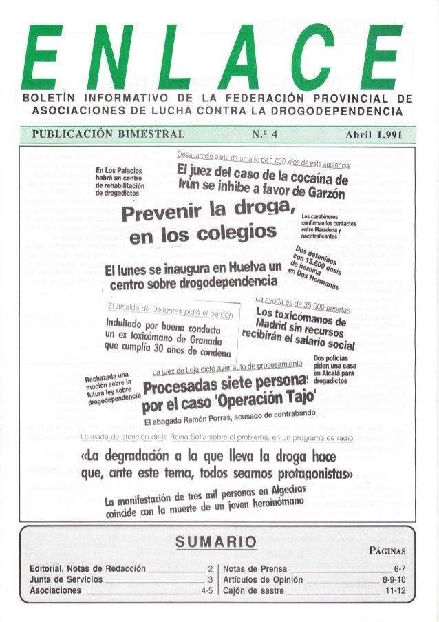 EBOLETíN INFORMATIVO DE LA FEDERAC¡ÓN PROVINCIAL DE ASOCIACIONES DE LUCHA CONTRA LA DROGODEPENDENCIA En Los Palacios habrá...