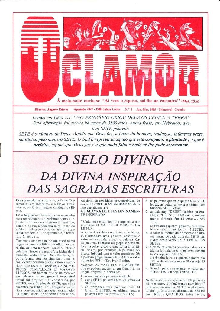 """A revista """"O Clamor"""" - 2 - A divina inspiração das Sagradas Escrituras"""