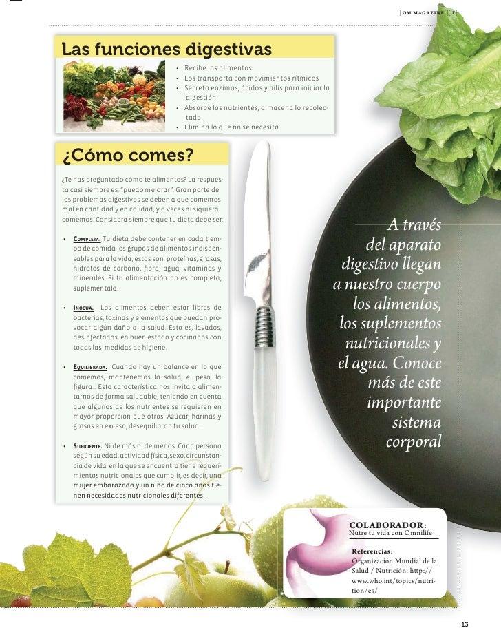 [ om magazine ][ 1 ]     los hábitos dietéticos, tales como la ingestión Estos antioxidantes podemos encontrarlos en exces...