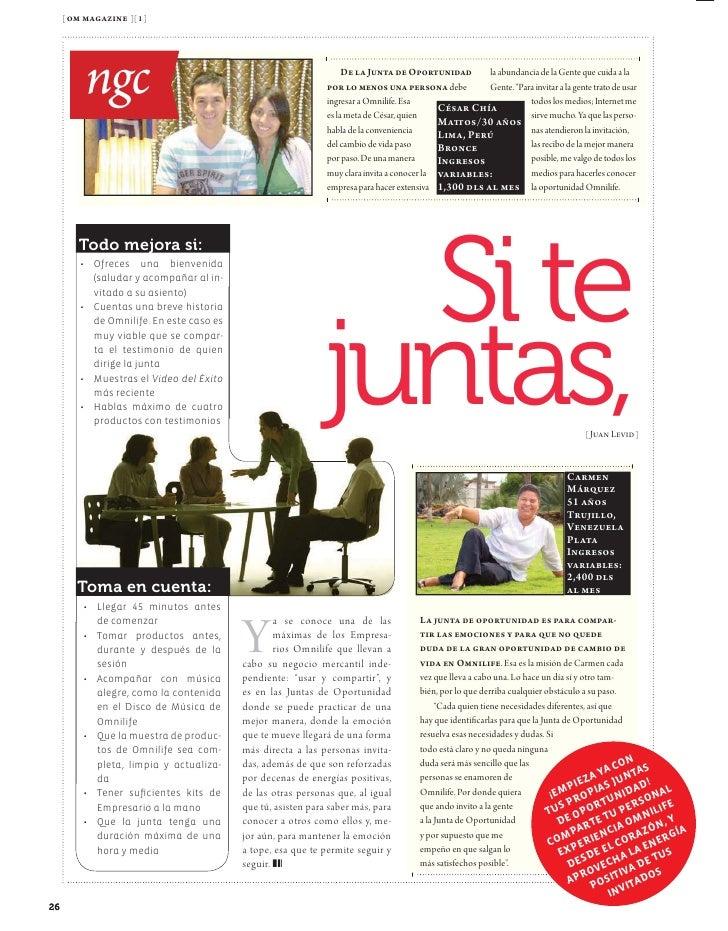 [ om magazine ][ 9 ]             a  f         Salud               El éxito no llega de la noche a                         ...