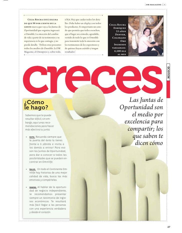 [ om magazine ][ 9 ]    ¡Hola, Angélica!                             travaganza, que Dios les multiplique sus fuerzas y su...