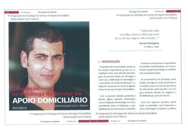 integração do psicólogo no serviço de apoio domiciliário (intervenção com o idoso) - Revista Psicologia na Actualidade   (...