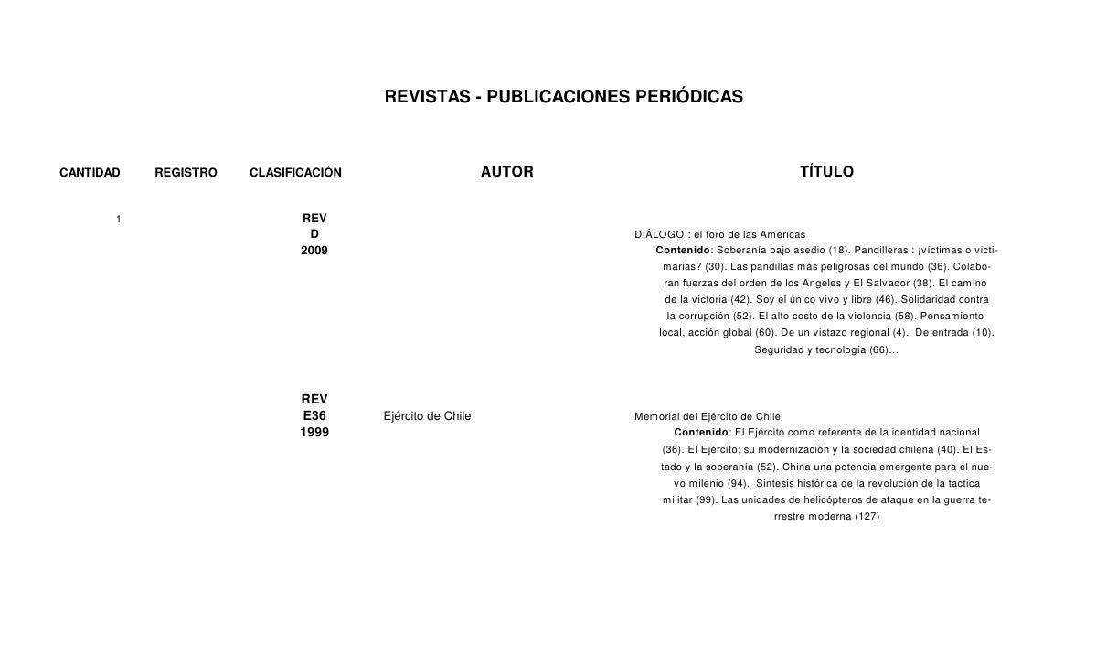REVISTAS - PUBLICACIONES PERIÓDICASCANTIDAD   REGISTRO   CLASIFICACIÓN                       AUTOR                        ...