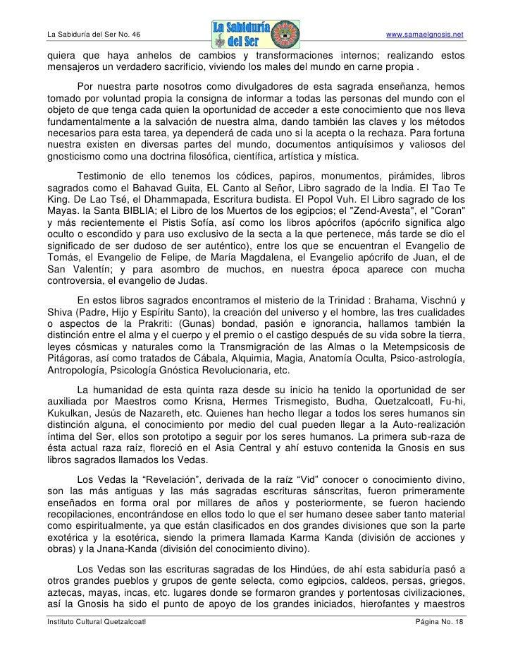 La Sabiduría del Ser No. 46                                                   www.samaelgnosis.net  quiera que haya anhelo...