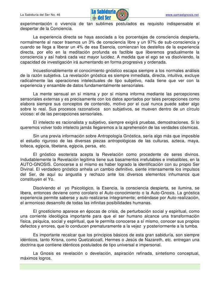 La Sabiduría del Ser No. 46                                                  www.samaelgnosis.net  experimentación o viven...