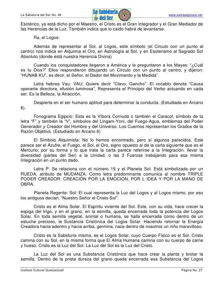 La Sabiduría del Ser No. 46                                                  www.samaelgnosis.net  Esotérico, ya está dich...