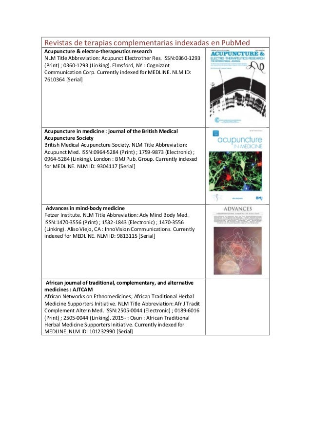 Revistas de terapias complementarias indexadas en PubMed Acupuncture & electro-therapeutics research NLM Title Abbreviatio...