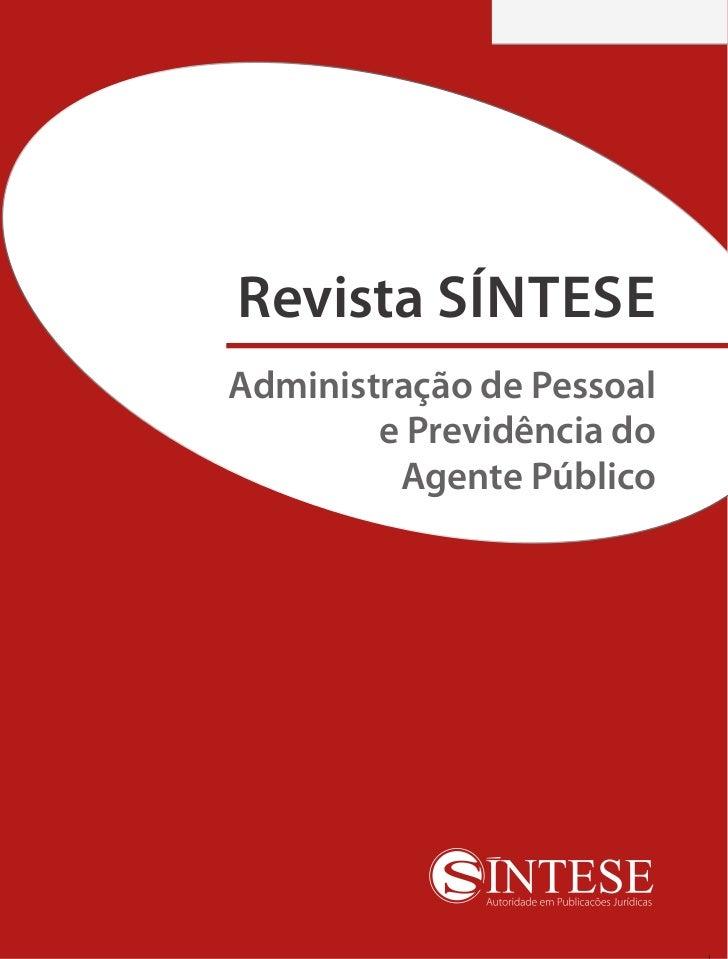 Revista SÍNTESEAdministração de Pessoal        e Previdência do         Agente Público