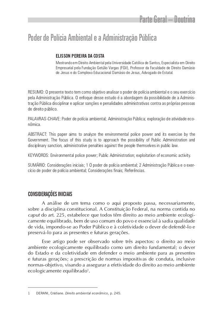 Parte Geral – DoutrinaPoder de Polícia Ambiental e a Administração Pública                 ELISSON PEREIRA DA COSTA       ...