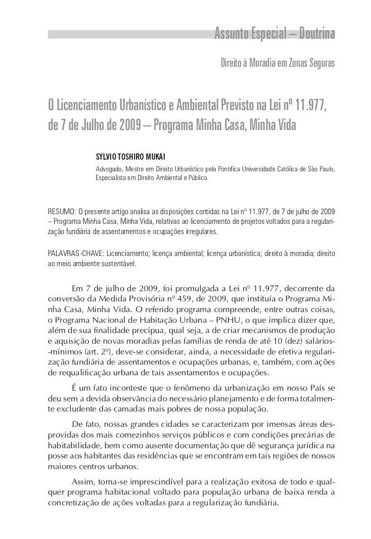 Assunto Especial – Doutrina                                                              Direito à Moradia em Zonas Segura...