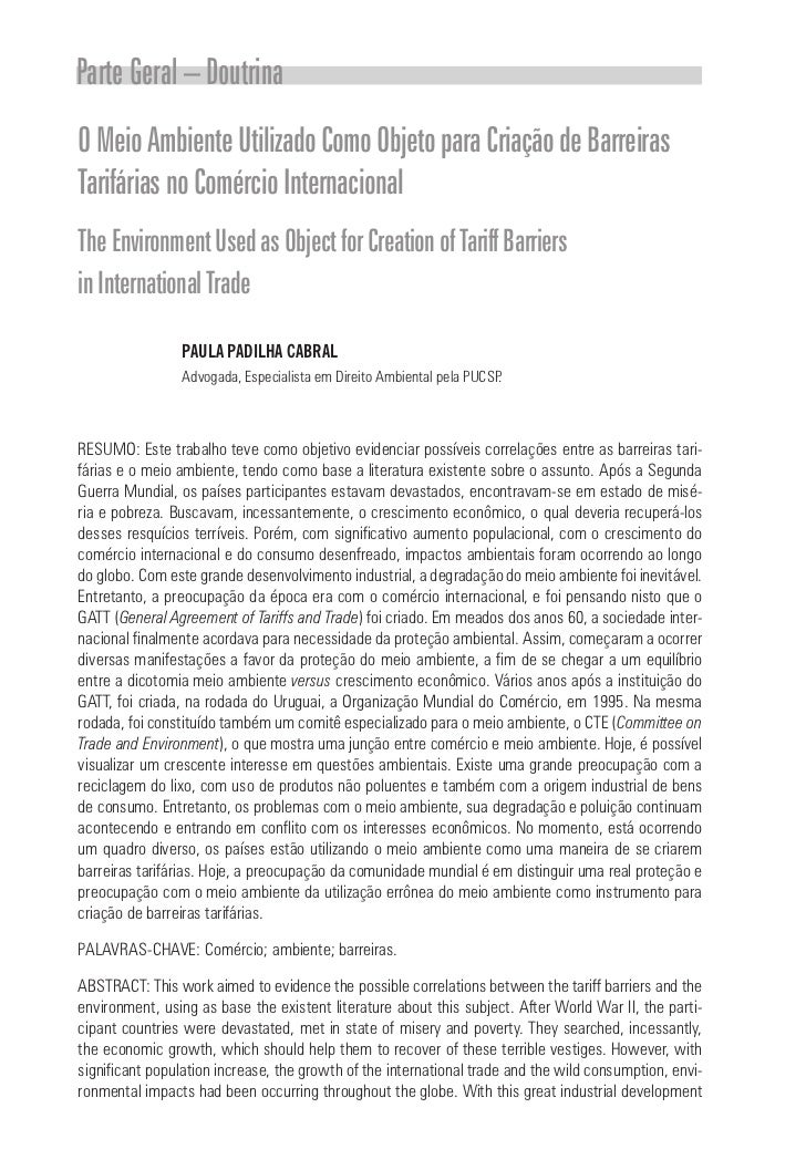 Parte Geral – DoutrinaO Meio Ambiente Utilizado Como Objeto para Criação de BarreirasTarifárias no Comércio InternacionalT...