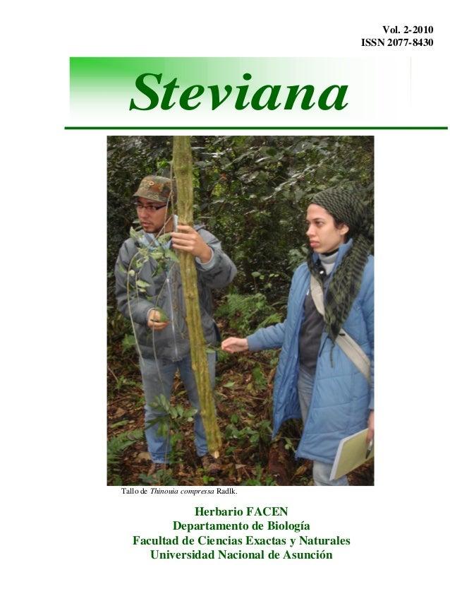 Vol. 2-2010ISSN 2077-8430Tallo de Thinouia compressa Radlk.Herbario FACENDepartamento de BiologíaFacultad de Ciencias Exac...