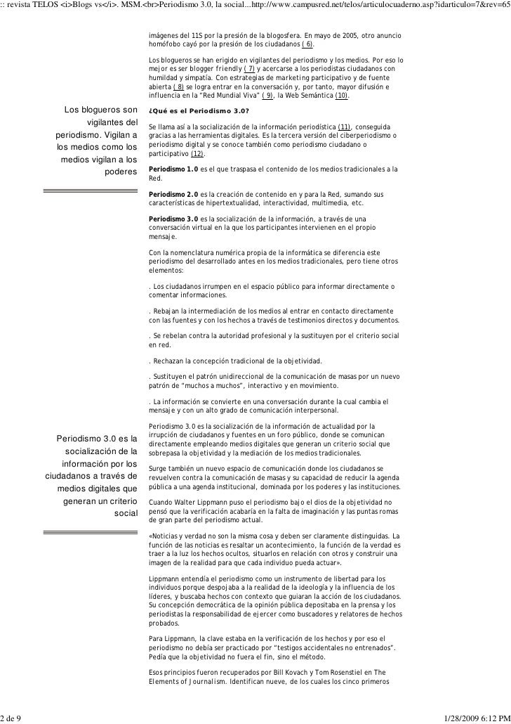 Blogs vs. MSM. Periodismo 3.0, la socializaciòn de la información.Telos: Cuadernos de comunicación e innovación Slide 2