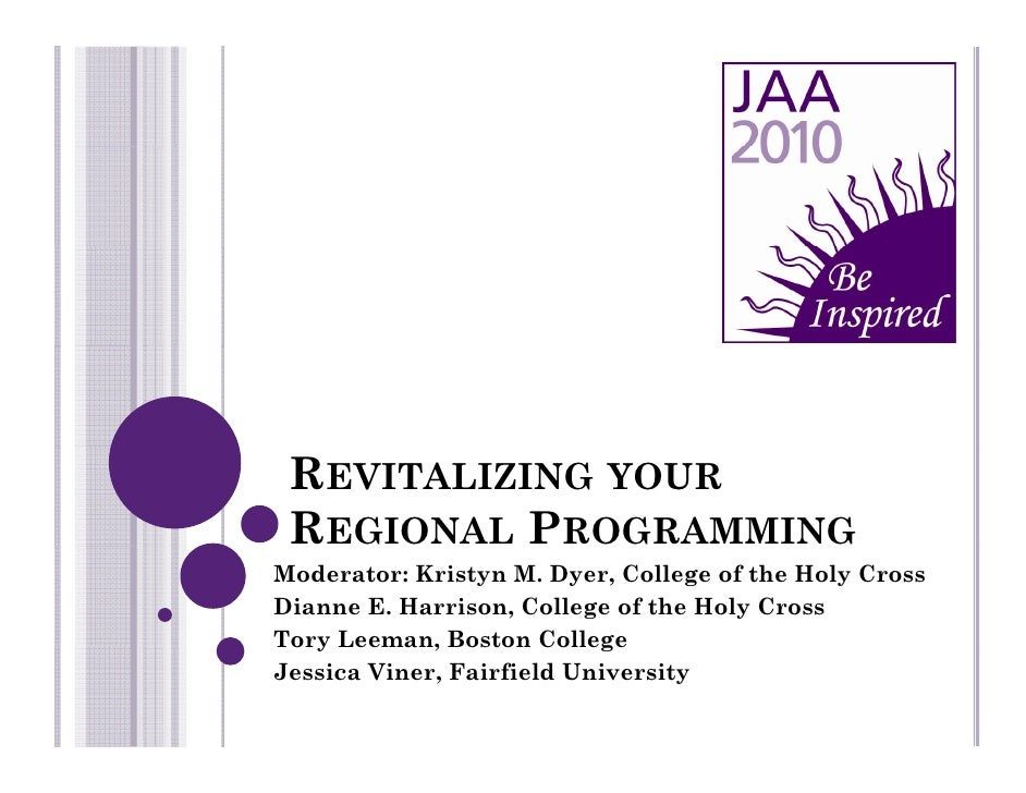 REVITALIZING YOUR  REGIONAL PROGRAMMING Moderator: Kristyn M. Dyer, College of the Holy Cross Dianne E. Harrison, College ...