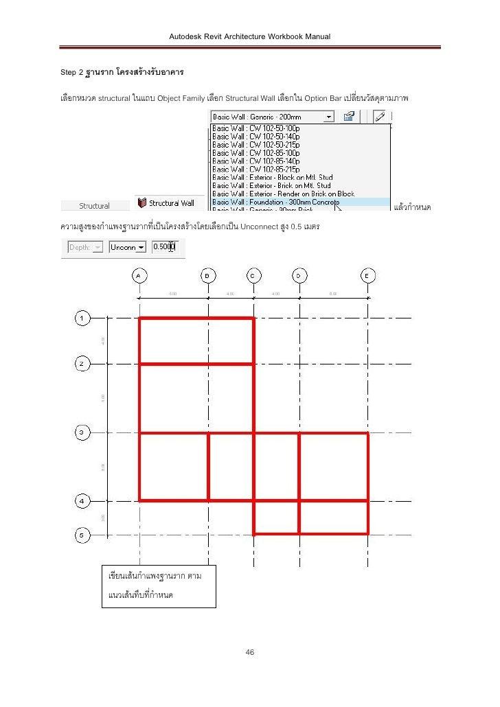 Autodesk Revit Architecture Workbook ManualStep 2 ฐานราก โครงสร้ างรับอาคารเลือกหมวด structural ในแถบ Object Family เลือก ...