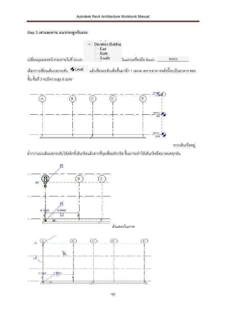 Autodesk Revit Architecture Workbook ManualStep 3 เสาและคาน แนวกระดูกรับแรงเปลี่ยนมุมมองหน้ากระดาษไปที่ South             ...