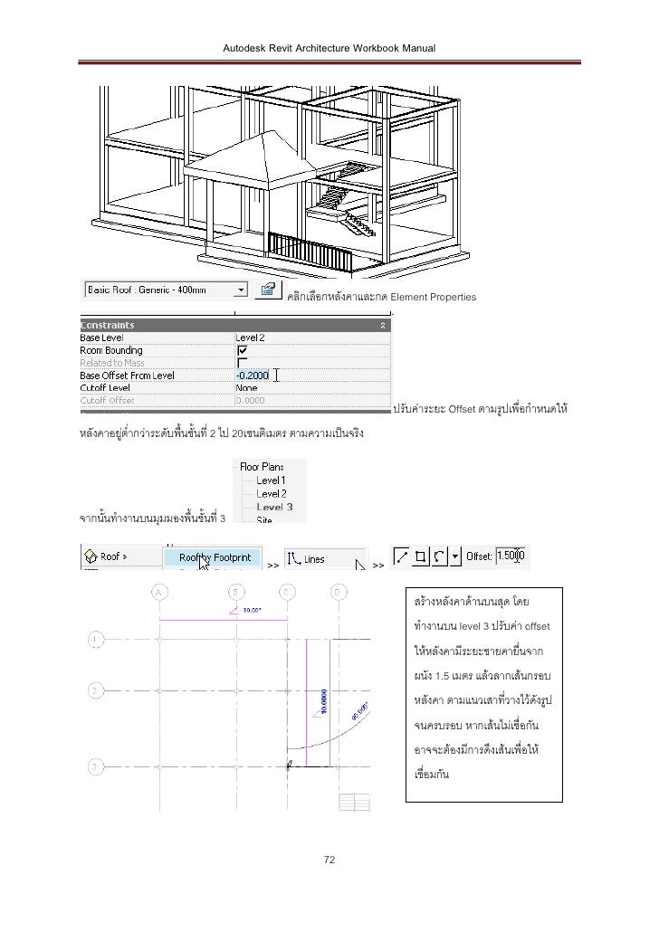 Autodesk Revit Architecture Workbook Manual                                               คลิกเลือกหลังคาและกด Element Pro...