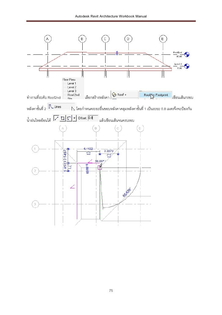 Autodesk Revit Architecture Workbook Manualทางานที่ระดับ Roof2nd        เลือกสร้างหลังคา                                  ...