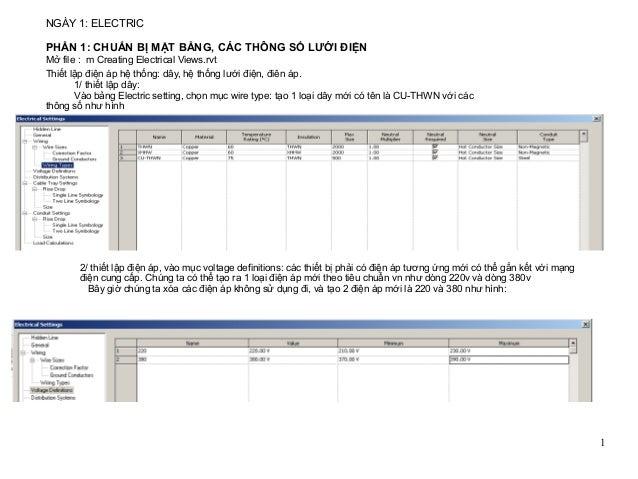 1 NGÀY 1: ELECTRIC Mở file : m Creating Electrical Views.rvt Thiết lập điện áp hệ thống: dây, hệ thống lưới điện, điên áp....