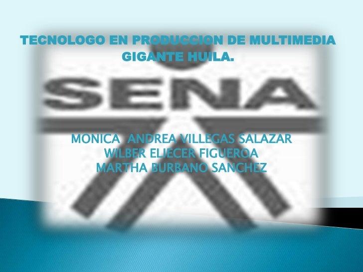 TECNOLOGO EN PRODUCCION DE MULTIMEDIA<br />GIGANTE HUILA.<br />MONICA  ANDREA VILLEGAS SALAZAR<br />WILBER ELIECER FIGUERO...