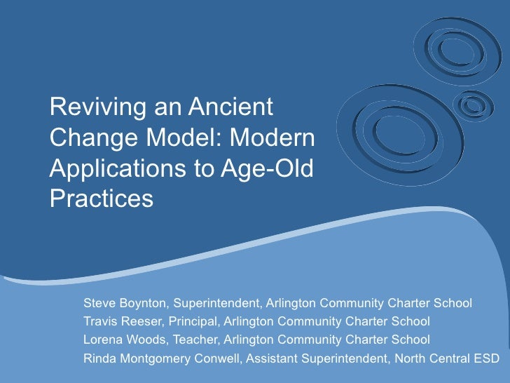 Reviving an AncientChange Model: ModernApplications to Age-OldPractices  Steve Boynton, Superintendent, Arlington Communit...