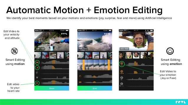 Smart Editing using motion We identify your best moments based on your motions and emotions (joy, surprise, fear and more)...