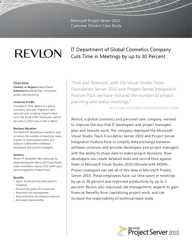 revlon case study Case study for: jim southard revlon's case statement: while revlon is an innovator in the cosmetics industry, several equally strong competitors, slow.