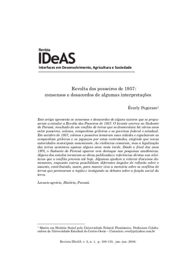 Revista IDeAS, v. 2, n. 1, p. 109-133, jan.-jun. 2008. InterfacesemDesenvolvimento,AgriculturaeSociedade Revolta dos...