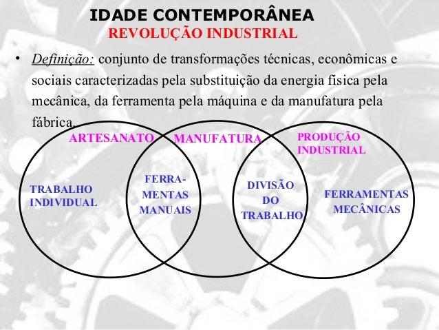 IDADE CONTEMPORÂNEAREVOLUÇÃO INDUSTRIAL• Definição: conjunto de transformações técnicas, econômicas esociais caracterizada...
