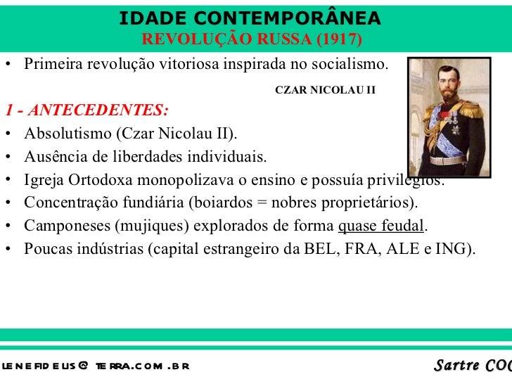 <ul><li>Primeira revolução vitoriosa inspirada no socialismo. </li></ul><ul><li>1 - ANTECEDENTES: </li></ul><ul><li>Absolu...