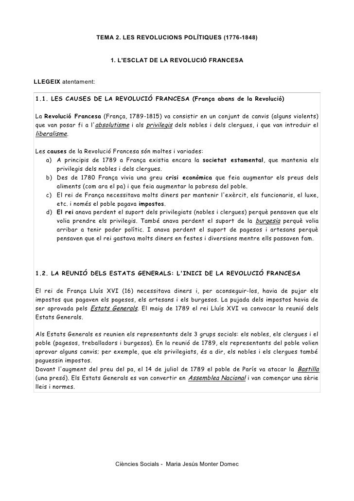 TEMA 2. LES REVOLUCIONS POLÍTIQUES (1776-1848)                          1. LESCLAT DE LA REVOLUCIÓ FRANCESALLEGEIX atentam...